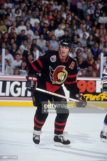 Sylvain Turgeon of the Ottawa Senators skates on the ice during an NHL game against the Tampa Bay Lightning on November 13 1992 at the Expo Hall in...