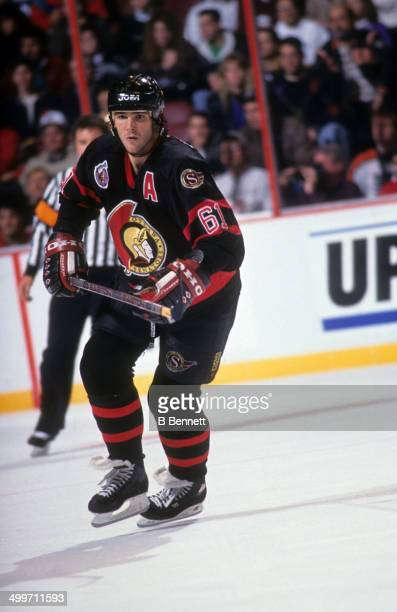 Sylvain Turgeon of the Ottawa Senators skates on the ice during an NHL game against the Philadelphia Flyers on November 15 1992 at the Spectrum in...