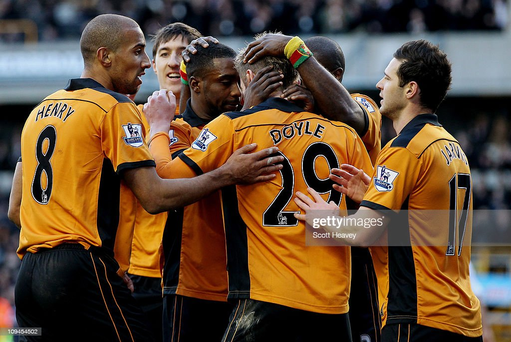 Sylvan Ebanks Blake celebrates after scoring their third goal during the Barclays Premier League match between Wolverhampton Wanderers and Blackpool at Molineux on February 26, 2011 in Wolverhampton, England.