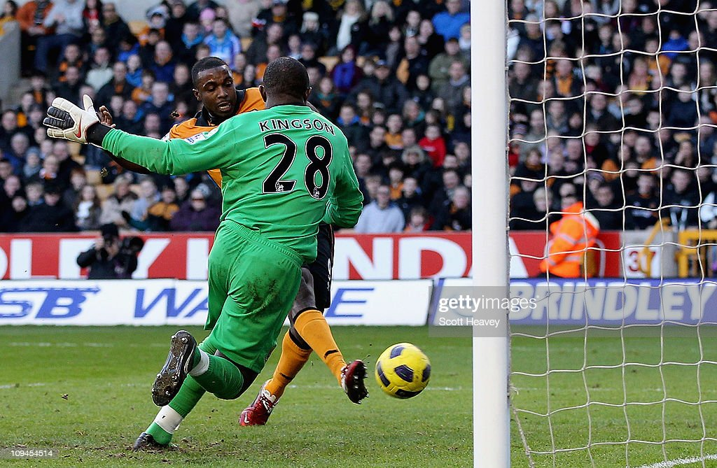 Sylvan Ebanks Blake of Wolves scores their third goal during the Barclays Premier League match between Wolverhampton Wanderers and Blackpool at Molineux on February 26, 2011 in Wolverhampton, England.