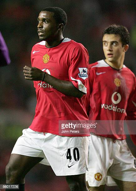 Sylvan EbanksBlake and Giuseppe Rossi of Manchester United in action during the Carling Cup third round match between Manchester United and Barnet on...