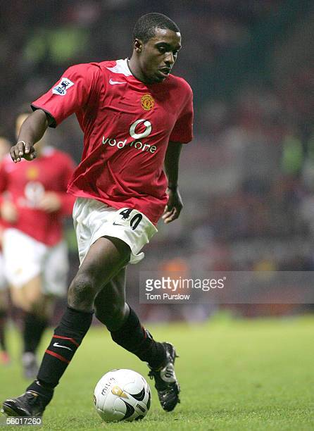 Sylvan EbanksBlake of Manchester in action on the ball during the Carling Cup third round match between Manchester United and Barnet on October 26...