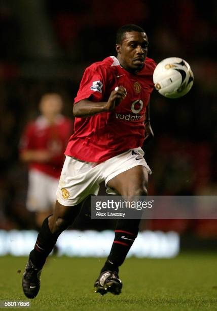 Sylvan EbanksBlake of Manchester United plays the ball during the Carling Cup third round match between Manchester United and Barnet at Old Trafford...