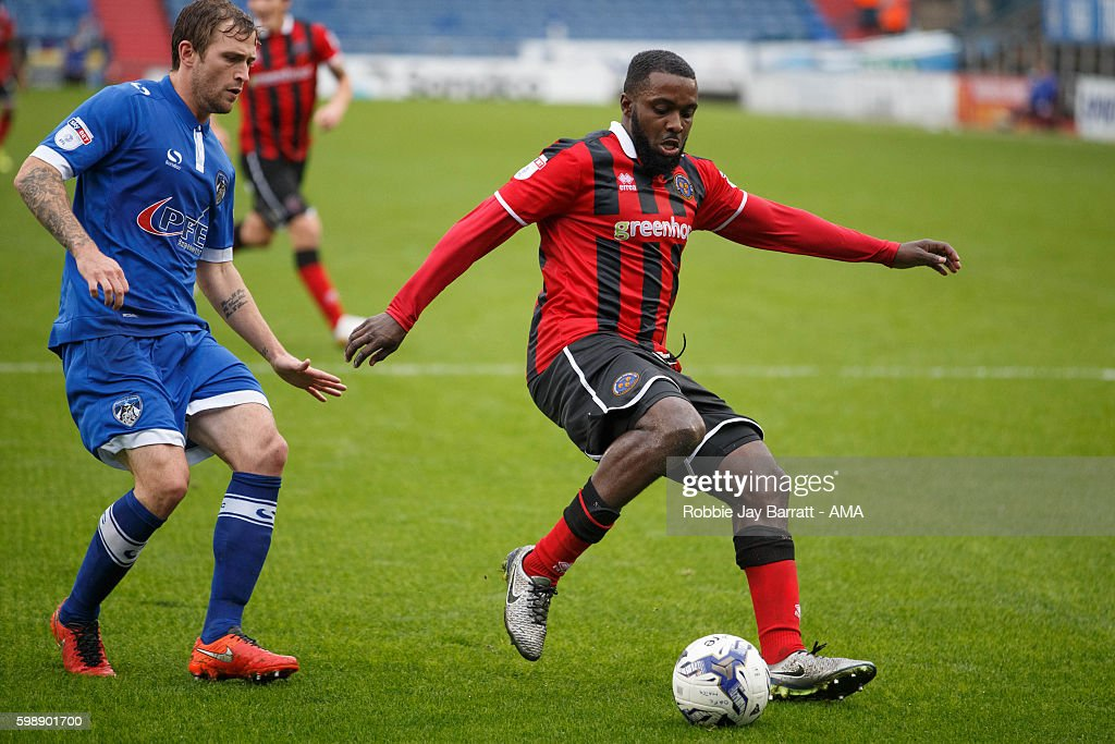Sylvan Ebanks-Blake of Shrewsbury Town during the Sky Bet League One match between Oldham Athletic and Shrewsbury Town at Boundary Park on September 3, 2016 in Oldham, England.