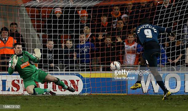 Sylvan EbanksBlake of Wolverhampton Wanderers scores his second goal from the penalty spot past Blackpool Keeper Matthew Gilks during the npower...