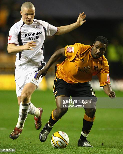 Sylvan EbanksBlake of Wolves battles with Jim Goodwin of Scunthorpe during the Coca Cola Championship match between Wolverhampton Wanderers and...