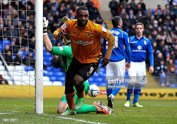 Sylvan EbanksBlake of Wolves celebrates after scoring his teams second goal of the game during the npower Championship match between Birmingham City...