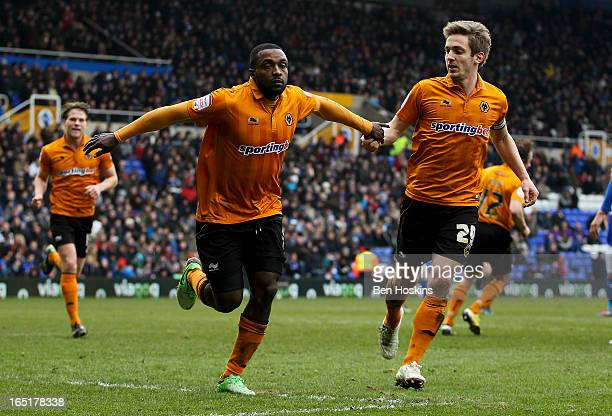 Sylvan EbanksBlake of Wolves celebrates after scoring his teams third goal of the game from the penalty spot during the npower Championship match...