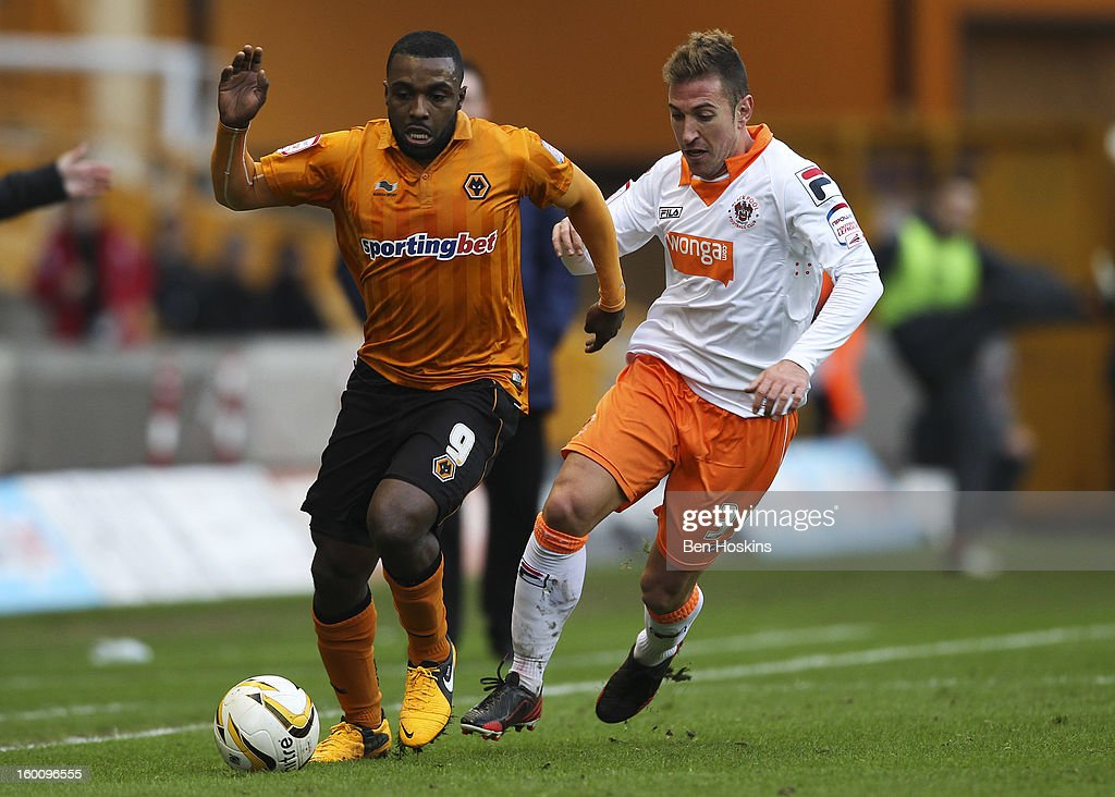 Sylvan Ebanks-Blake of Wolves holds off pressure from Stephen Crainey of Blackpool during the npower Championship match between Wolverhampton Wanderers and Blackpool at Molineux on January 26, 2013 in Wolverhampton, England.
