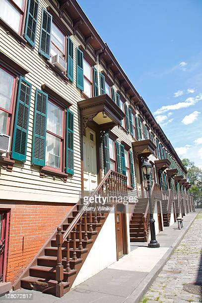 sylvan terrace, 20 wood frame rowhouses rest concealed from the outer neighborhood, upper west side, new york, ny, u.s.a., on the most northern reaches of sugar hill, in the former harlem heights area of town - television show stock pictures, royalty-free photos & images