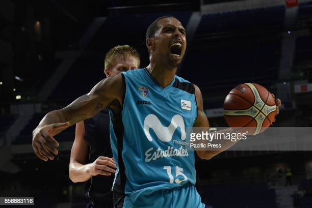 Sylven Landesberg #15 of Estudiantes celebrates after scoring two points during the second game of Qualification Round for the basketball Champions...
