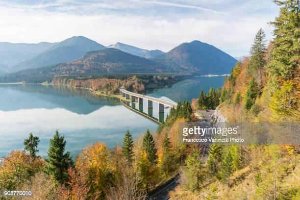 Sylvenstein Lake and bridge in autumn. Bad Tölz-Wolfratshausen district, Bavaria, Germany.