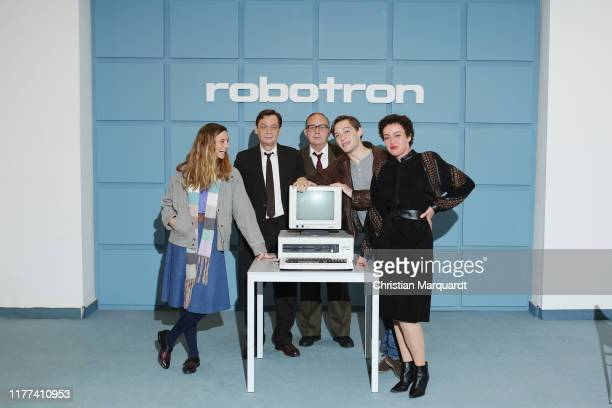 Sylvester Groth Svenja Jung Jonas Nay Maria Schrader and Uwe Preuss attend the set photo call for the series Deutschland89 on September 27 2019 in...