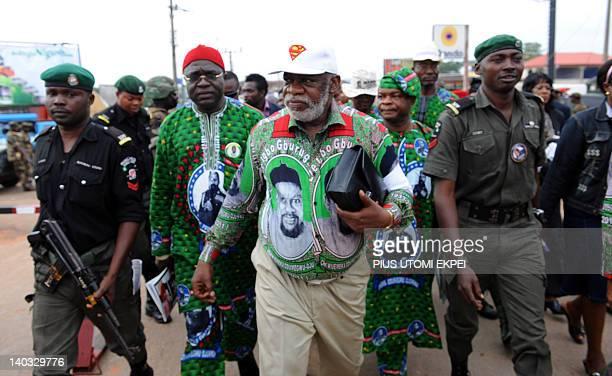 Sylvester Odumegwu Ojukwu the first son of Nigeria's secessionist leader Odumegwu Ojukwu arrives at St Michaels Catholic Church for the funeral...