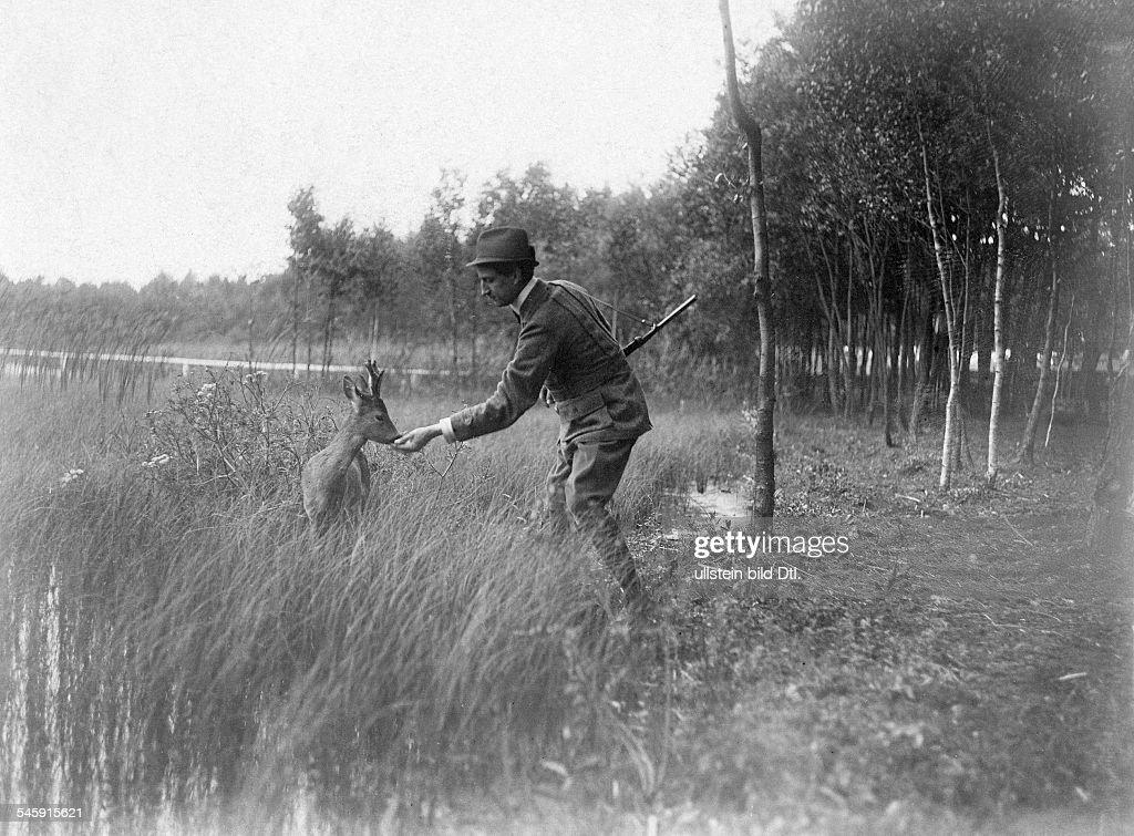 Multitalent Sylvester Schäffer und ein zahmes Reh, 1909 : News Photo