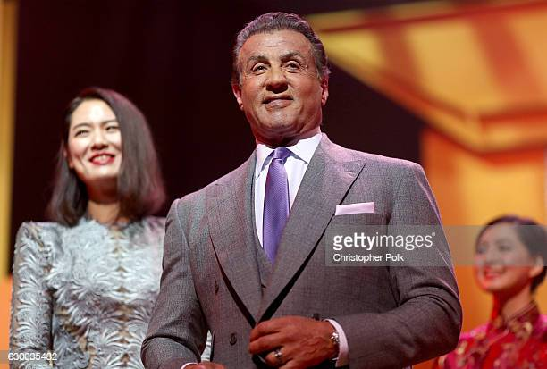Sylvester Stallone accepts the Lifetime Achievement Award onstage during the 21st Annual Huading Global Film Awards at The Theatre at Ace Hotel on...