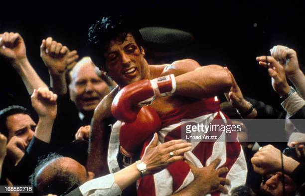 Sylvester Stallone after winning in a scene from the film 'Rocky IV' 1985