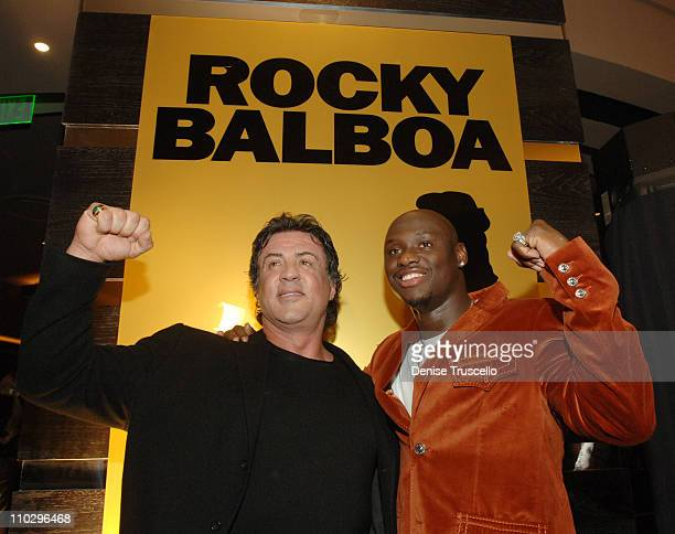Sylvester Stallone and Antonio Tarver during Rocky Balboa Las Vegas Premiere Red Carpet Arrivals at The Aladdin/Planet Hollywood Hotel and Casino...