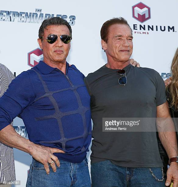 Sylvester Stallone and Arnold Schwarzenegger attend 'The Expendables 3' photocall during the 67th Annual Cannes Film Festival on May 18 2014 in...
