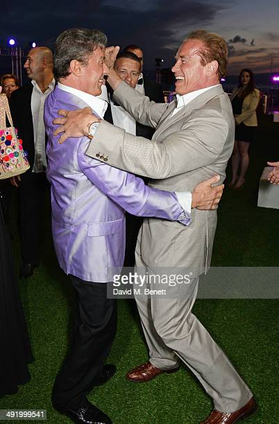 Sylvester Stallone and Arnold Schwarzenegger attend 'The Expendables 3' private dinner and party at Gotha Night Club at Palm Beach on May 18 2014 in...