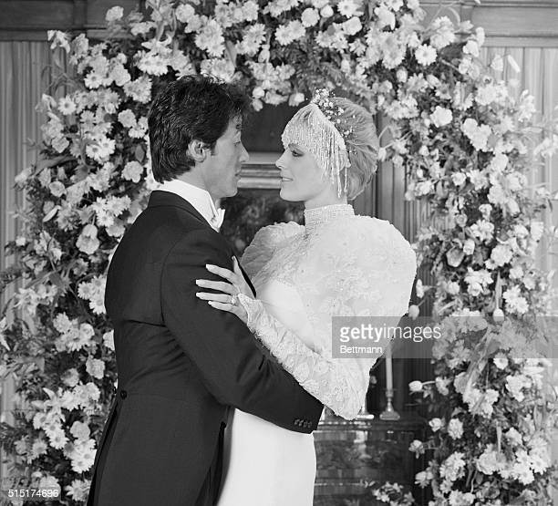 Sylvester Stallone and Brigitte Nielsen are photographed here immediately following their wedding ceremony at the home of Rocky producer Irwin...