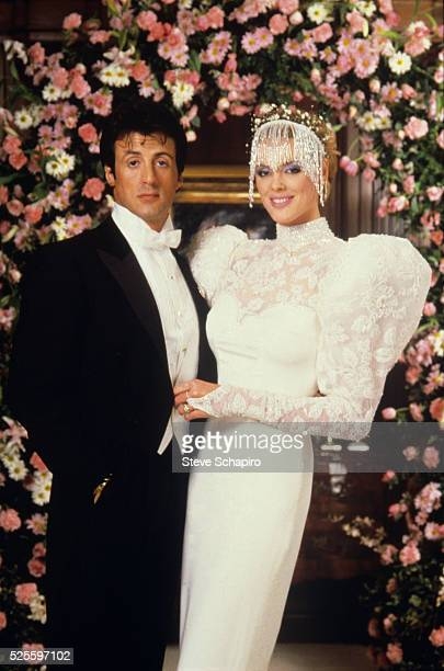 Sylvester Stallone and Brigitte Nielsen at their wedding
