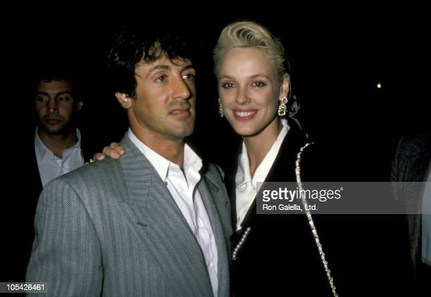"""Sylvester Stallone and Brigitte Nielsen during """"Cuba & The Teddy Bear"""" Performance - August 20, 1986 at Longacre Theater in New York City, New York,..."""
