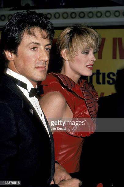 Sylvester Stallone And Brigitte Nielsen during 'Rocky IV' Los Angeles Premiere at Westwood Village Theater in Los Angeles California United States