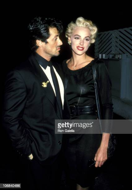 Sylvester Stallone and Brigitte Nielsen during Sylvester Stallone and Brigitte Nielsen Sighting at Spago's Restaurant in Hollywood June 4 1986 at...