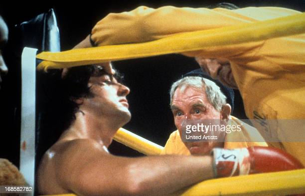 Sylvester Stallone and Burgess Meredith in the corner in a scene from the film 'Rocky', 1976.