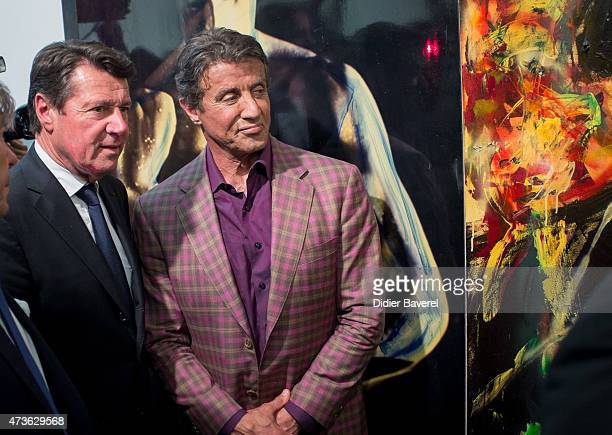 Sylvester Stallone and Christian Estrosi mayor of Nice attend the opening of Sylvester Stallone's art exhibition entitled 'Real Love' at the...