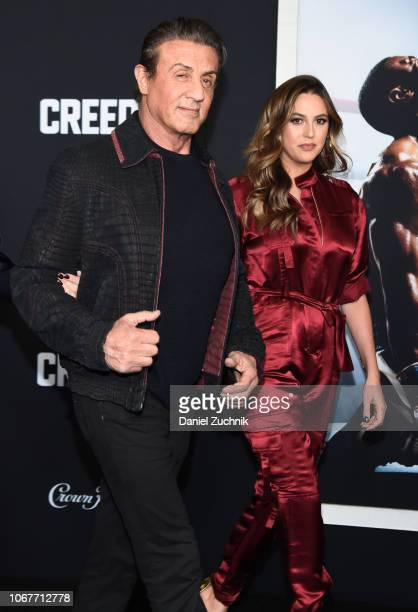 Sylvester Stallone and daughter Sophia Stallone attend the 'Creed II' New York Premiere at AMC Loews Lincoln Square on November 14 2018 in New York...