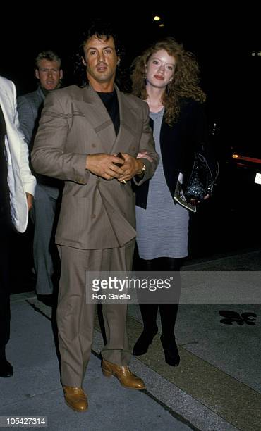 Sylvester Stallone and Dina Goodmanson during 'Madame Butterfly' Performance May 4 1988 at Eugene O'Neil Theater in New York City New York United...