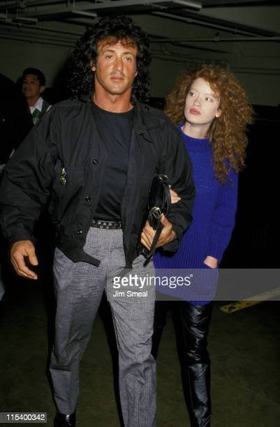 Sylvester Stallone and Dina Goodmanson during Sylvester Stallone And Dina Goodmanson at Nicky Blair's Restaurant at Nicky Blair's Restaurant in...
