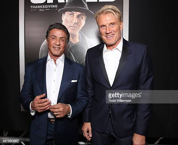 Sylvester Stallone and Dolph Lundgren attend the premiere of Warner Bros Pictures' Creed at Regency Village Theatre on November 19 2015 in Westwood...
