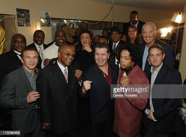 Sylvester Stallone and Frank Stallone with boxing legends Mike McCallum Ray 'Boom Boom' Mancini Tommy Hearns Iran Barkley Aaron Pryor Eddie Muhammed...