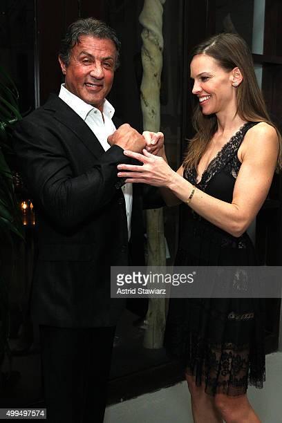 Sylvester Stallone and Hilary Swank attend DuJour Magazine's Jason Binn Celebrates Annual Art Basel Miami Beach KickOff Party at Delano Beach Club on...