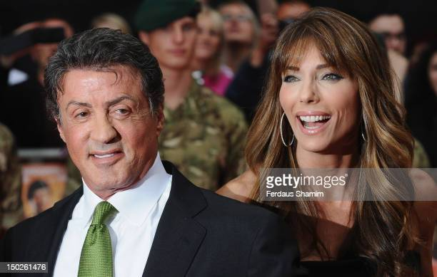 Sylvester Stallone and his wife Jennifer Flavin attend the UK film premiere of The Expendables 2 on August 13 2012 in London United Kingdom