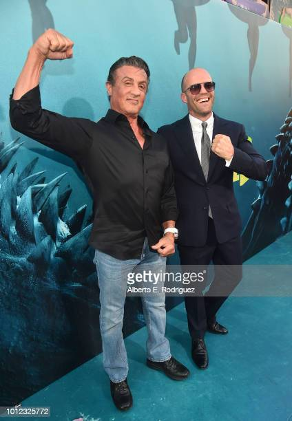 Sylvester Stallone and Jason Statham attend the premiere of Warner Bros Pictures And Gravity Pictures' The Meg at TCL Chinese Theatre IMAX on August...
