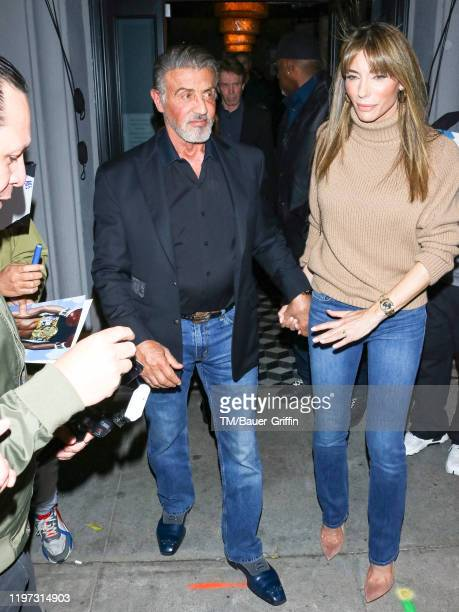 Sylvester Stallone and Jennifer Flavin are seen on January 28, 2020 in Los Angeles, California.