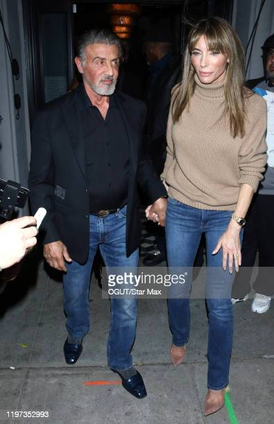 Sylvester Stallone and Jennifer Flavin are seen on January 29, 2020 in Los Angeles, California.