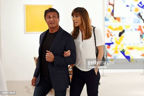 Sylvester Stallone and Jennifer Flavin Art Basel Miami Beach VIP Preview at the Miami Beach Convention Center on December 2 2015 in Miami Beach...