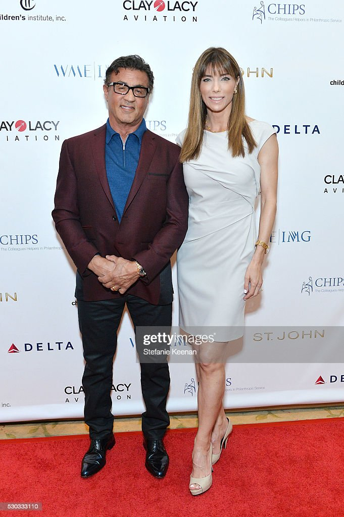 Sylvester Stallone (L) and Jennifer Flavin attend CHIPS Luncheon Featuring St. John at Beverly Hills Hotel on May 10, 2016 in Beverly Hills, California.