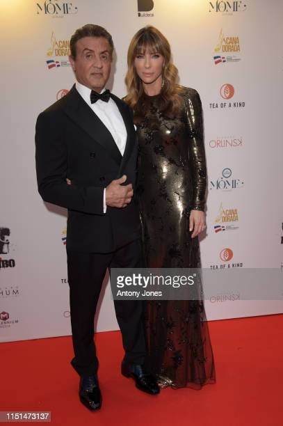 Sylvester Stallone and Jennifer Flavin attend Millennium Media Dinner And Cocktail Reception In Honor Of Sylvester Stallone on May 24 2019 in Cannes...