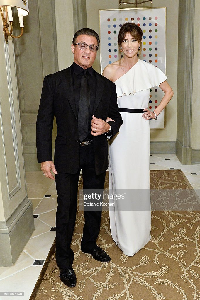 Sylvester Stallone and Jennifer Flavin attend PSLA partners with Carolina Herrera for Winter Gala on January 26, 2017 in Beverly Hills, California.