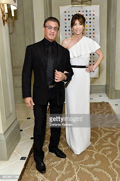 Sylvester Stallone and Jennifer Flavin attend PSLA partners with Carolina Herrera for Winter Gala on January 26 2017 in Beverly Hills California