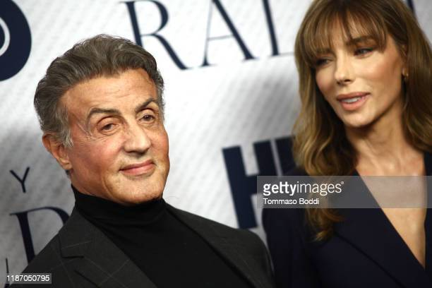 """Sylvester Stallone and Jennifer Flavin attend the Premiere Of HBO Documentary Film """"Very Ralph"""" at The Paley Center for Media on November 11, 2019 in..."""