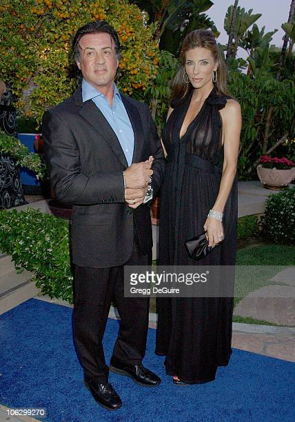 Sylvester Stallone and Jennifer Flavin during Center Dance Arts' Pool Party Sponsored By Yves Saint Laurent Arrivals at Beverly Hills Hotel in...