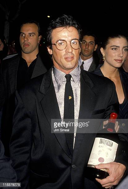 Sylvester Stallone And Jennifer Flavin during Elton John's 43rd Birthday Party at Le Dome Restaurant in Los Angeles California United States