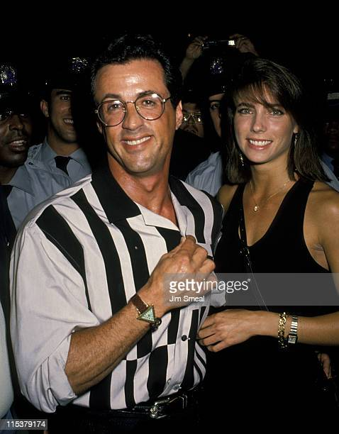 Sylvester Stallone and Jennifer Flavin during Grand Opening Of Universal Studios New Theme Park Attraction June 7 1990 at Universal Studios in...